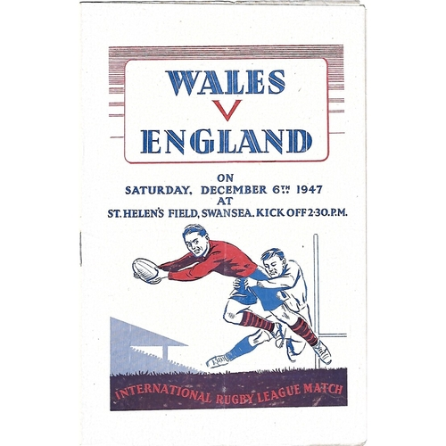 1947 Wales v England Rugby League Programme