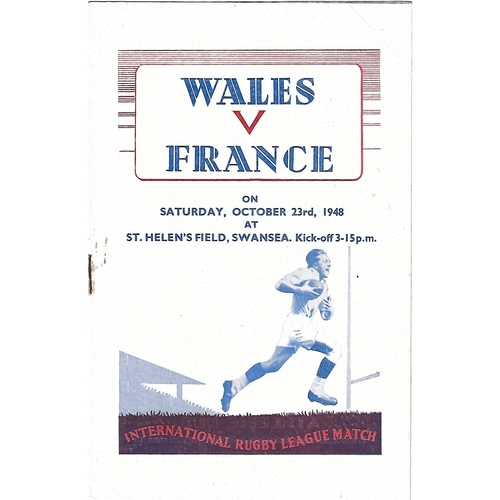 1948 Wales v France Rugby League Programme