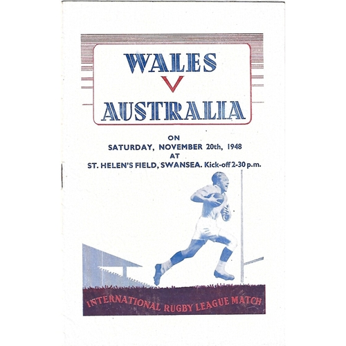 1948 Wales v Australia Rugby League Programme