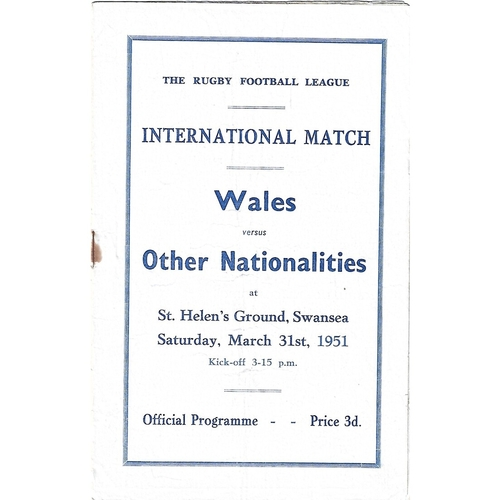1951 Wales v Other Nationalities Rugby League Programme
