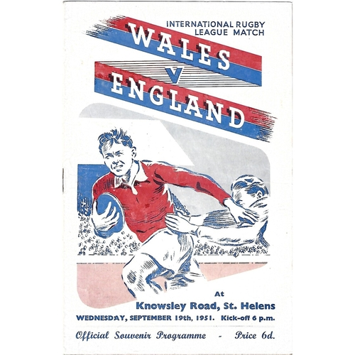 1951 Wales v England Rugby League Programme