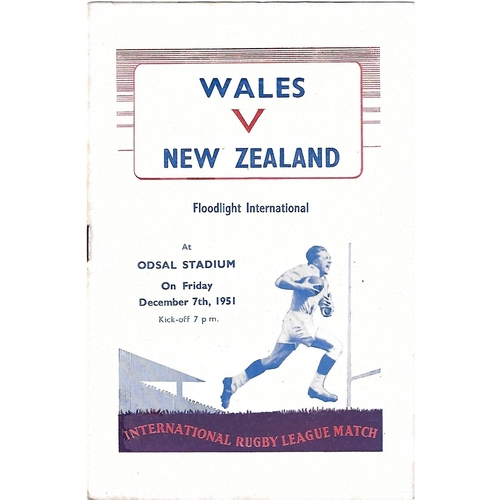 1951 Wales v New Zealand Rugby League Programme