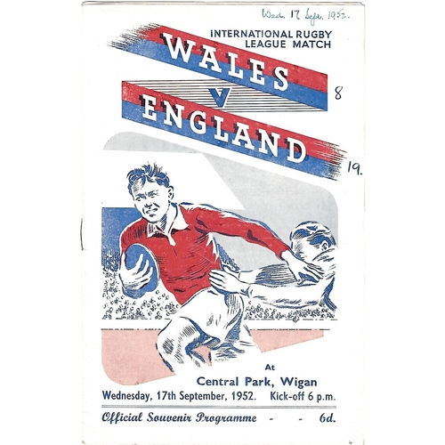 1952 Wales v England Rugby League Programme