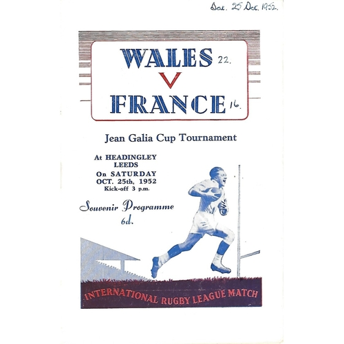 1952 Wales v France Rugby League Programme