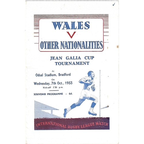 1953 Wales v Other Nationalities Rugby League Programme