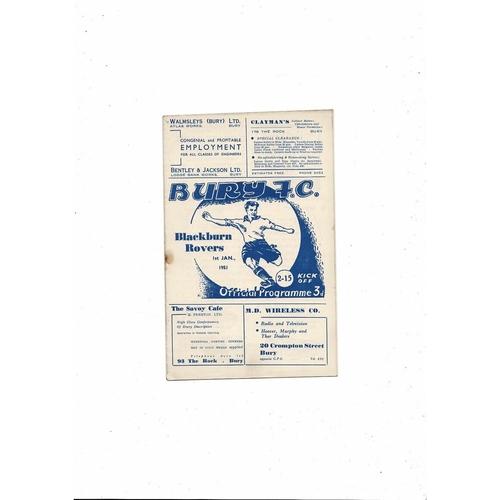 1950/51 Bury v Blackburn Rovers Football Programme