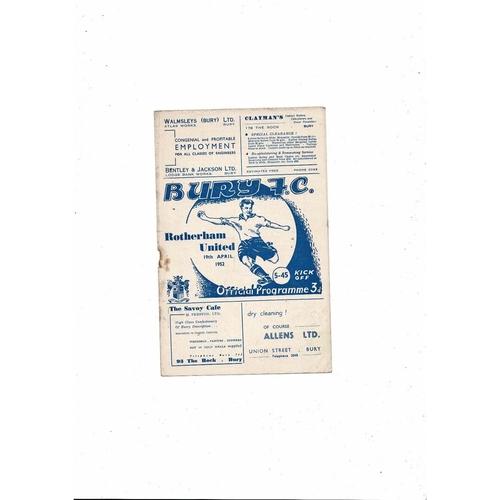 1951/52 Bury v Rotherham United Football Programme