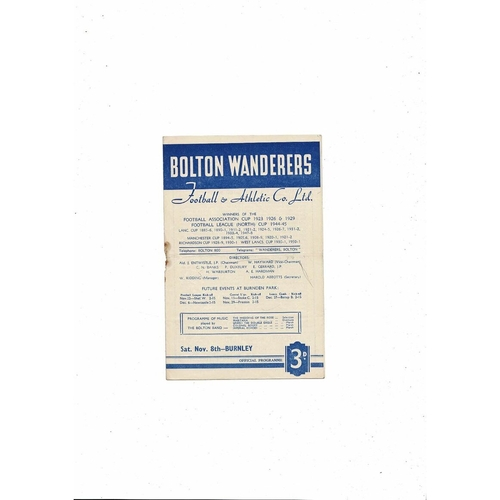 1952/53 Bolton v Burnley Football Programme