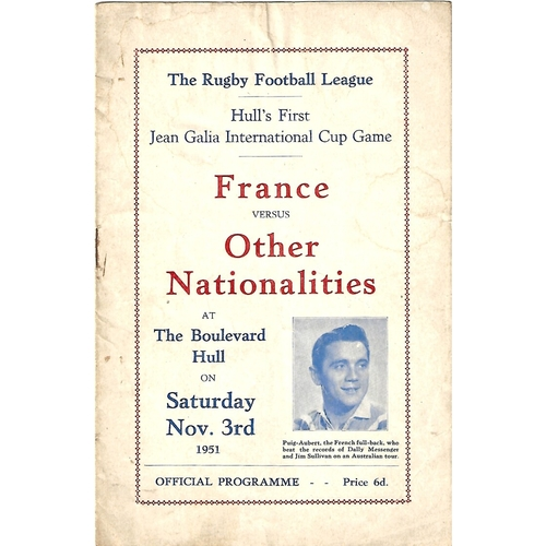 1951 France v Other Nationalities Rugby League Programme