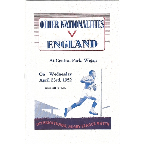 1952 Other Nationalities v England Rugby League Programme