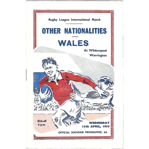 1953 Other Nationalities v Wales Rugby League Programme