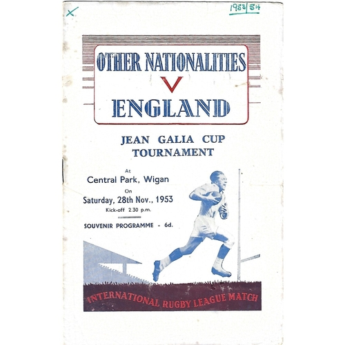 1953 Other Nationalities v England Rugby League Programme