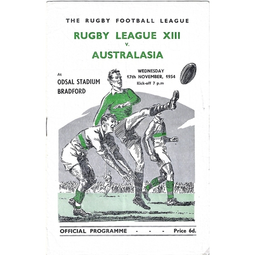 1954 Rugby League XIII v Australasia Rugby League Programme