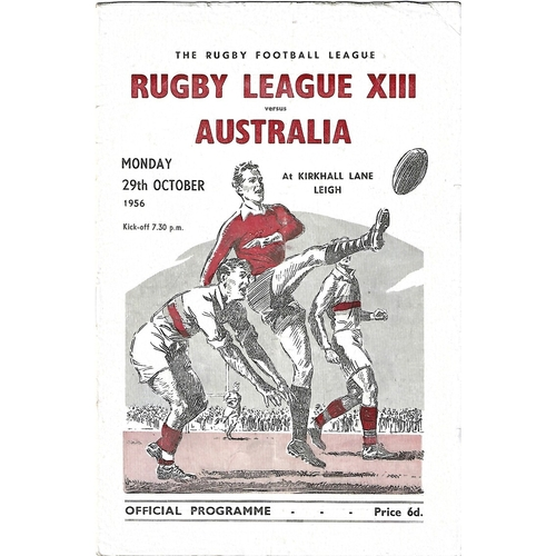 1956 Rugby League XIII v Australia Rugby League Programme