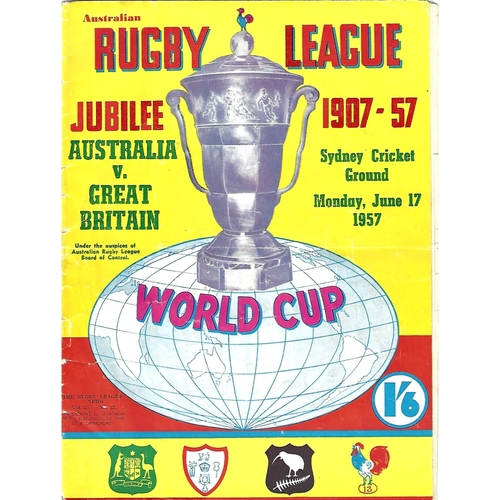 1957 Australia v Great Britian World Cup Rugby League Programme