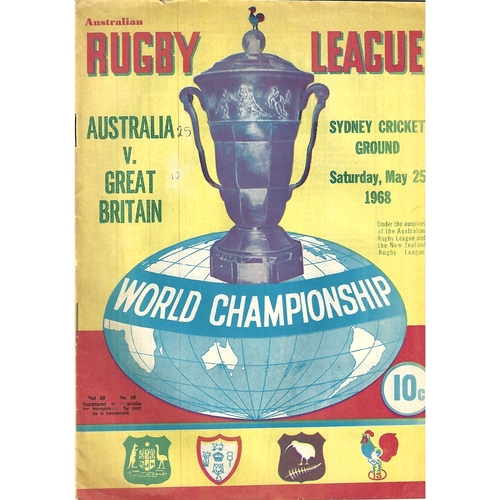 1968 Australia v Great Britain World Championship Rugby League Programme