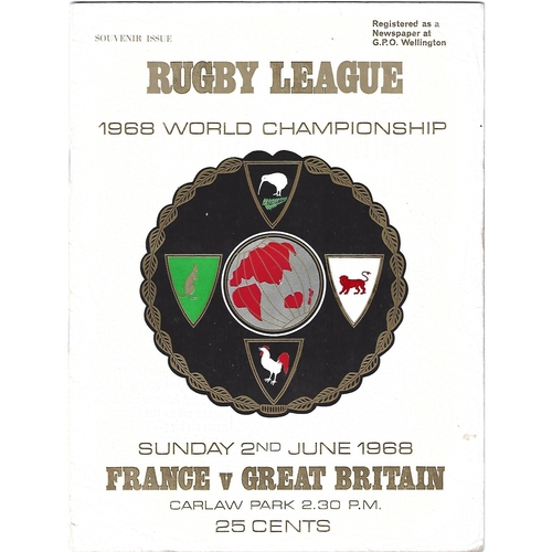 1968 France v Great Britain World Championship Rugby League Programme
