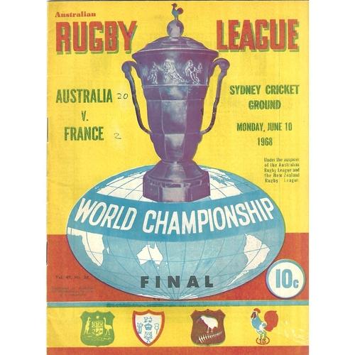 1968 Australia v France World Championship Final Rugby League Programme
