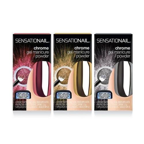 Sensationail chrome gel manicure powder