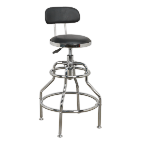 Workshop Stool Pneumatic with Adjustable Height Swivel Seat & Back Rest - Sealey - SCR14