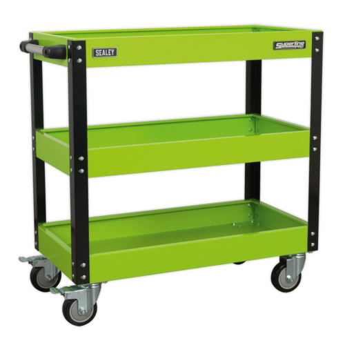 Workshop Trolley 3-Level Heavy-Duty - Hi-Vis Green - Sealey - CX110HV