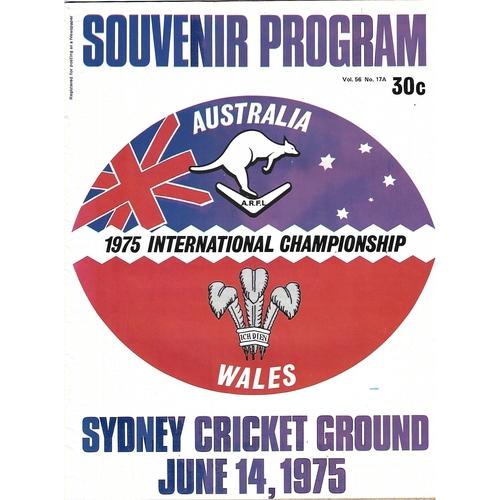 1975 Australia v Wales International Championship Rugby League Programme