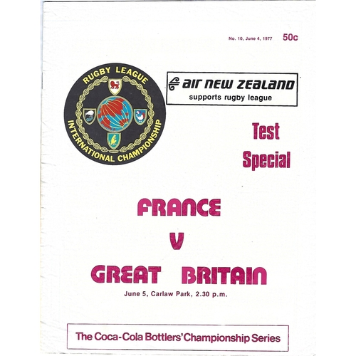1977 France v Great Britain International Championship Rugby League Programme