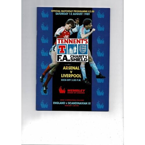 1989 Arsenal v Liverpool Charity Shield Football Programme