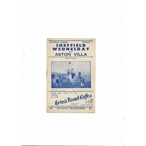 1950/51 Sheffield Wednesday v Aston Villa Football Programme