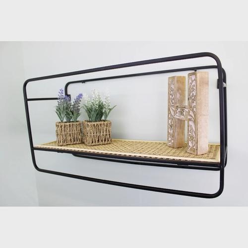 Large Wall Hanging Shelf Unit in Metal Weave Effect