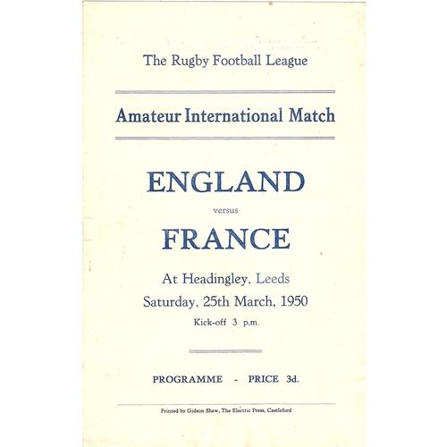 1950 England v France Amateur International Match Rugby League Programme