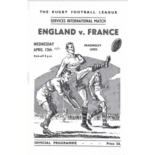 1956 England v France Services International Match Rugby League Programme