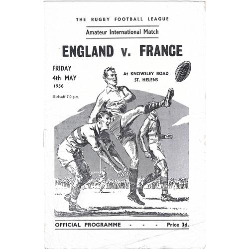 1956 England v France Amateur International Match Rugby League Programme