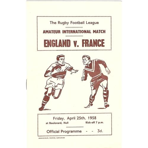1958 England v France Amateur International Match Rugby League Programme