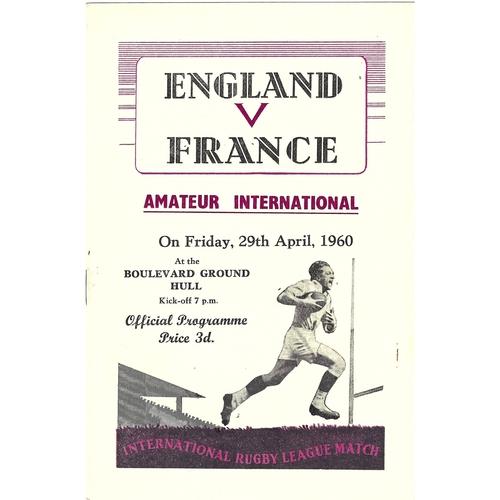 1960 England v France Amateur International Match Rugby League Programme