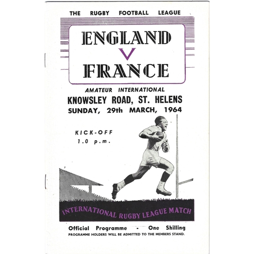 1964 England v France Amateur International Match Rugby League Programme
