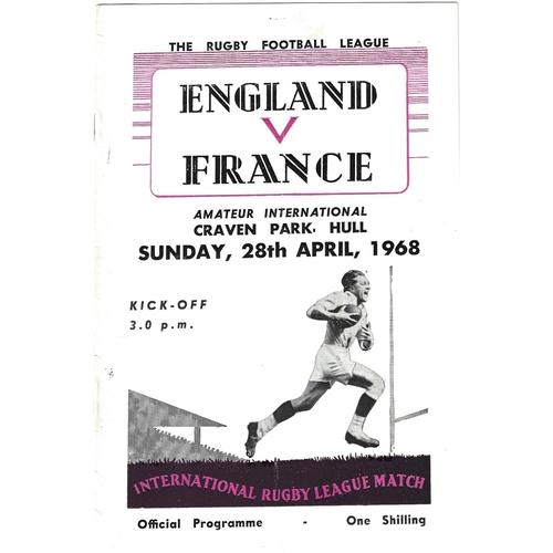 1968 England v France Amateur International Match Rugby League Programme