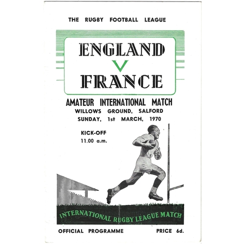 1970 England v France Amateur International Match Rugby League Programme