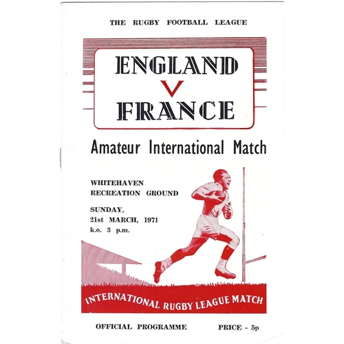1971 England v France Amateur International Match Rugby League Programme