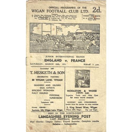 1950 England v France Junior International Match Rugby League Programme