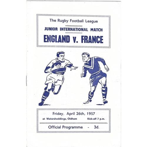 1957 England v France Junior International Match Rugby League Programme