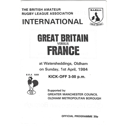 1984 Great Britain v France Amateur International Match Rugby League Programme