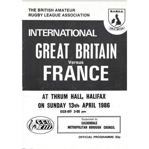 1986 Great Britain v France Amateur International Match Rugby League Programme