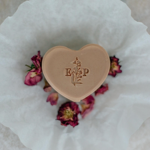 Geranium and pink clay heart soap