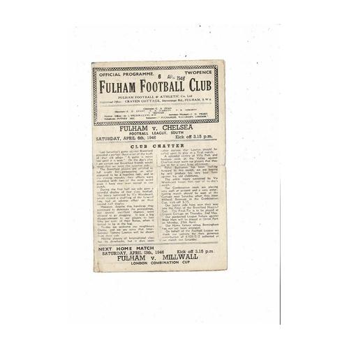 1945/46 Fulham v Chelsea League South Football Programme