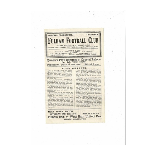 1945/46 Queens Park Rangers v Crystal Palace FA Cup Football Programme played at Fulham