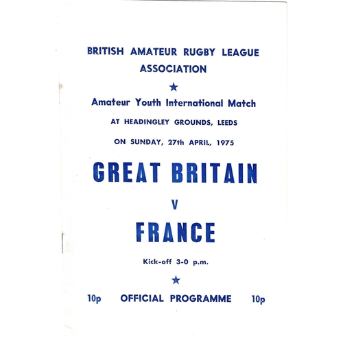 1975 Great Britain v France Amateur Youth International Match Rugby League Programme & Team Sheet