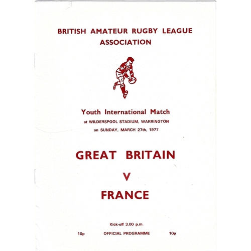 1977 Great Britain v France Amateur Youth International Match Rugby League Programme