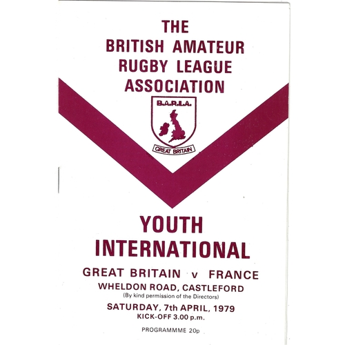 1979 Great Britain v France Amateur Youth International Match Rugby League Programme