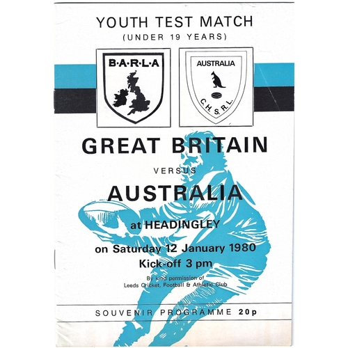 1980 Great Britain v Australia Amateur Youth (U-19) International Match Rugby League Programme